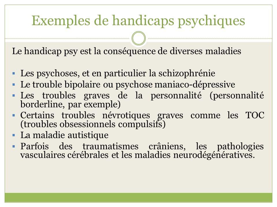 Exemples de handicaps psychiques Le handicap psy est la conséquence de diverses maladies Les psychoses, et en particulier la schizophrénie Le trouble