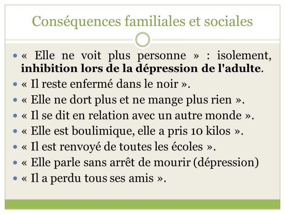 Conséquences familiales et sociales « Elle ne voit plus personne » : isolement, inhibition lors de la dépression de l'adulte. « Il reste enfermé dans