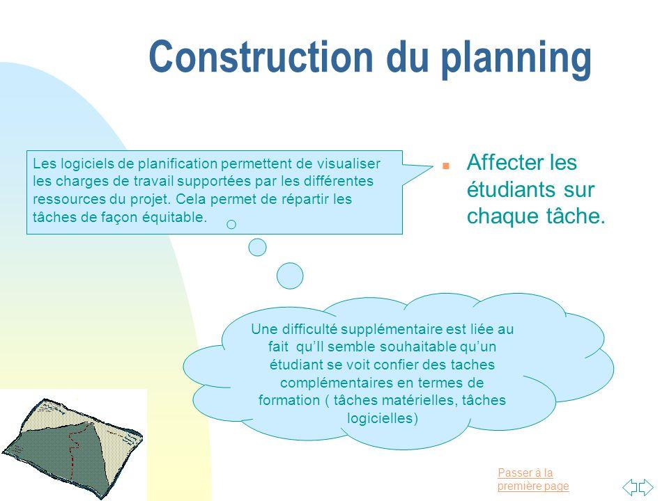 Passer à la première page Construction du planning n Affecter les étudiants sur chaque tâche. Les logiciels de planification permettent de visualiser