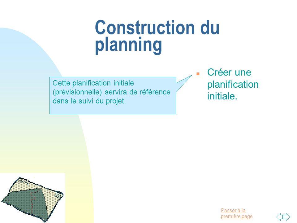 Passer à la première page Construction du planning n Créer une planification initiale. Cette planification initiale (prévisionnelle) servira de référe
