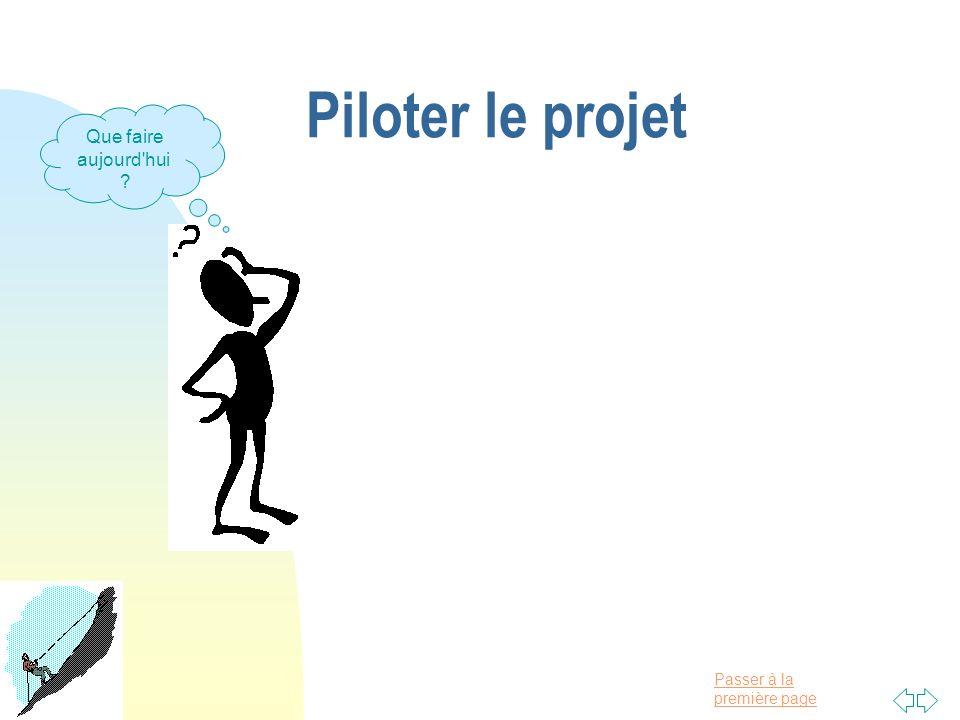 Passer à la première page Piloter le projet Que faire aujourd'hui ?