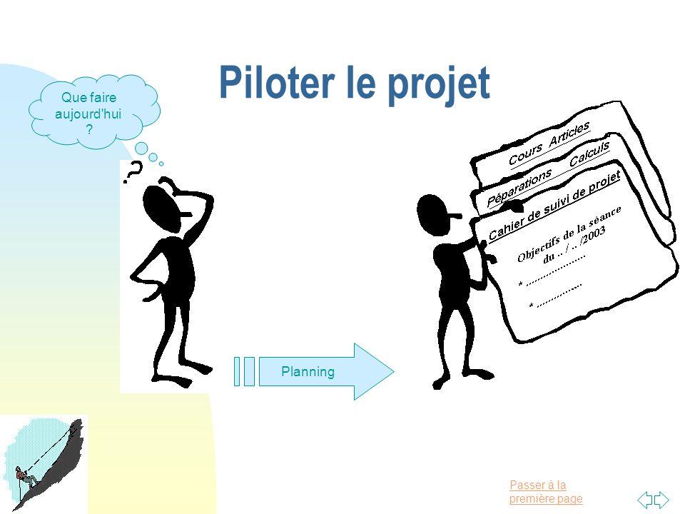 Passer à la première page Piloter le projet Que faire aujourd'hui ? Planning