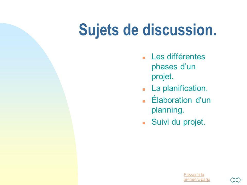 Passer à la première page Sujets de discussion. n Les différentes phases dun projet. n La planification. n Élaboration dun planning. n Suivi du projet