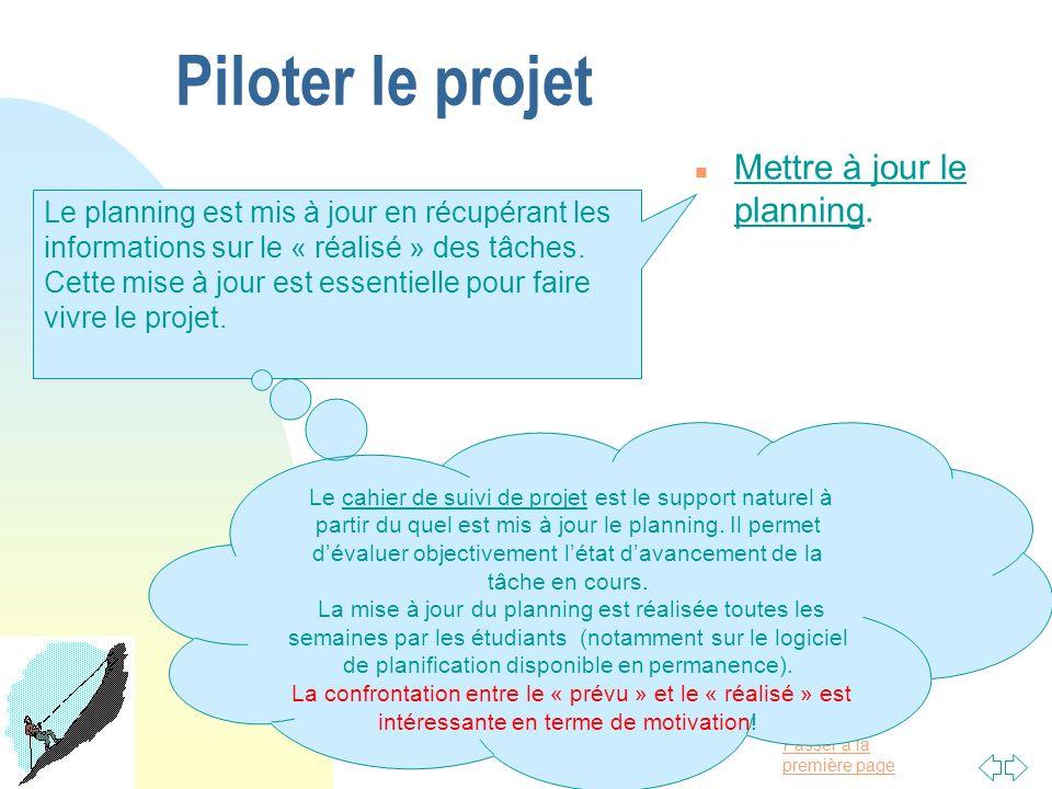 Passer à la première page Piloter le projet n Mettre à jour le planning. Le planning est mis à jour en récupérant les informations sur le « réalisé »