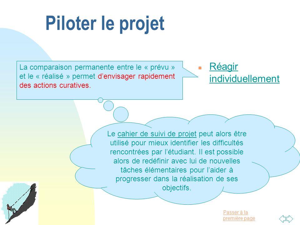 Passer à la première page Piloter le projet n Réagir individuellement La comparaison permanente entre le « prévu » et le « réalisé » permet denvisager