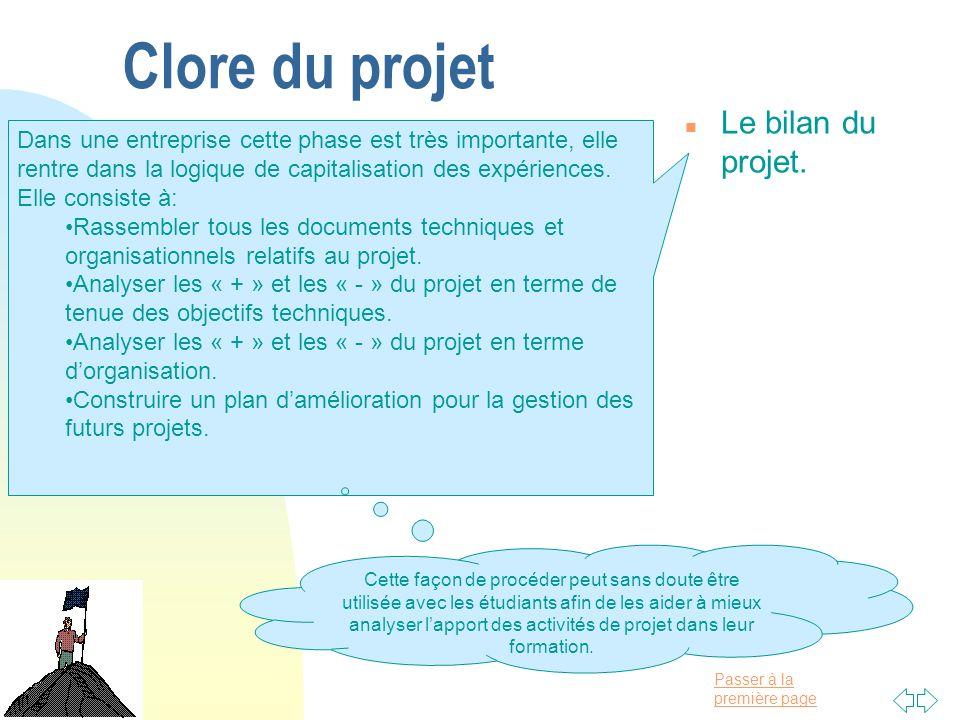 Passer à la première page Clore du projet n Le bilan du projet. Dans une entreprise cette phase est très importante, elle rentre dans la logique de ca