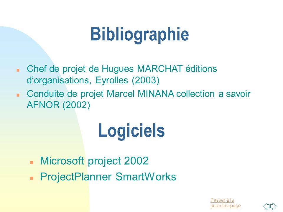 Passer à la première page n Chef de projet de Hugues MARCHAT éditions dorganisations, Eyrolles (2003) n Conduite de projet Marcel MINANA collection a