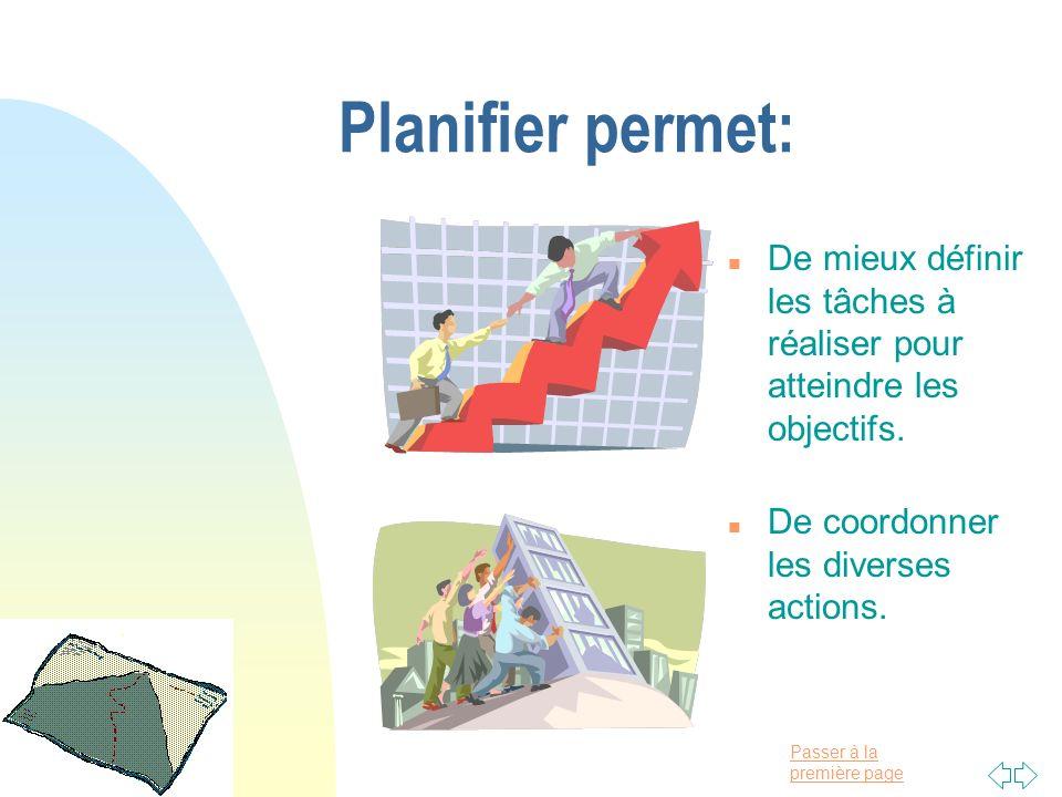 Passer à la première page Planifier permet: n De mieux définir les tâches à réaliser pour atteindre les objectifs. n De coordonner les diverses action