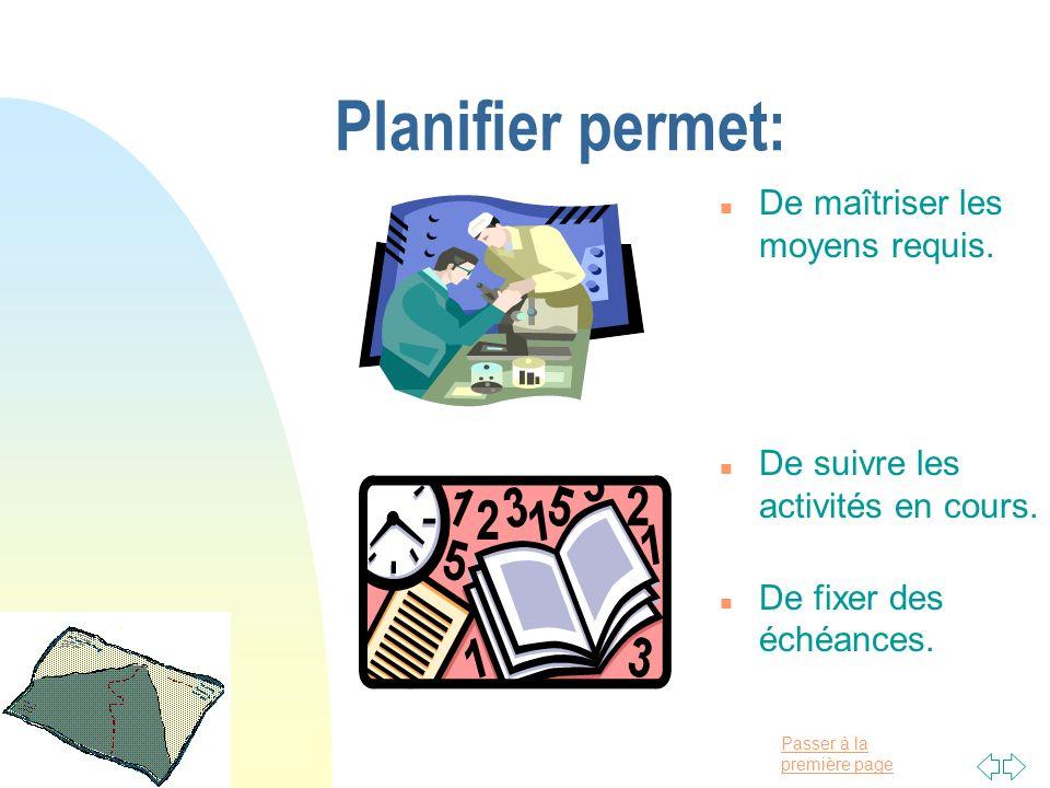 Passer à la première page Planifier permet: n De maîtriser les moyens requis. n De suivre les activités en cours. n De fixer des échéances.