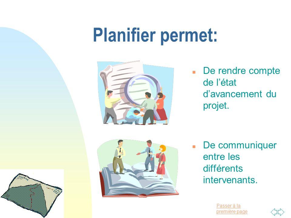 Passer à la première page Planifier permet: n De rendre compte de létat davancement du projet. n De communiquer entre les différents intervenants.