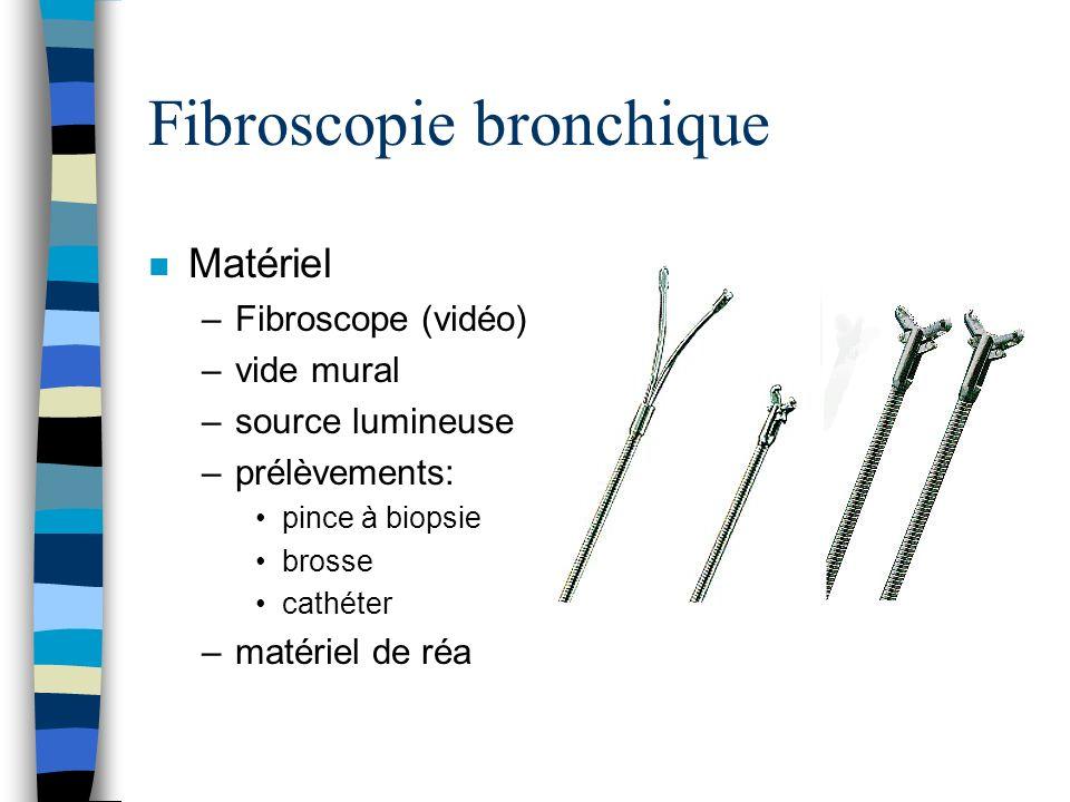 Fibroscopie bronchique n Matériel –Fibroscope (vidéo) –vide mural –source lumineuse –prélèvements: pince à biopsie brosse cathéter –matériel de réa