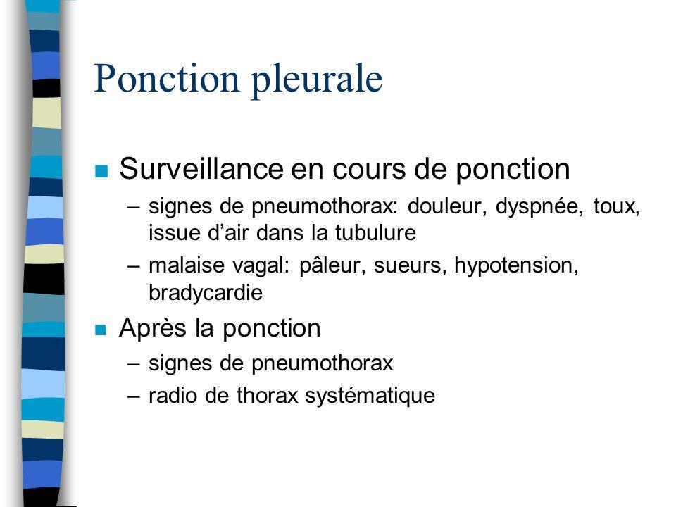 Ponction pleurale n Surveillance en cours de ponction –signes de pneumothorax: douleur, dyspnée, toux, issue dair dans la tubulure –malaise vagal: pâl