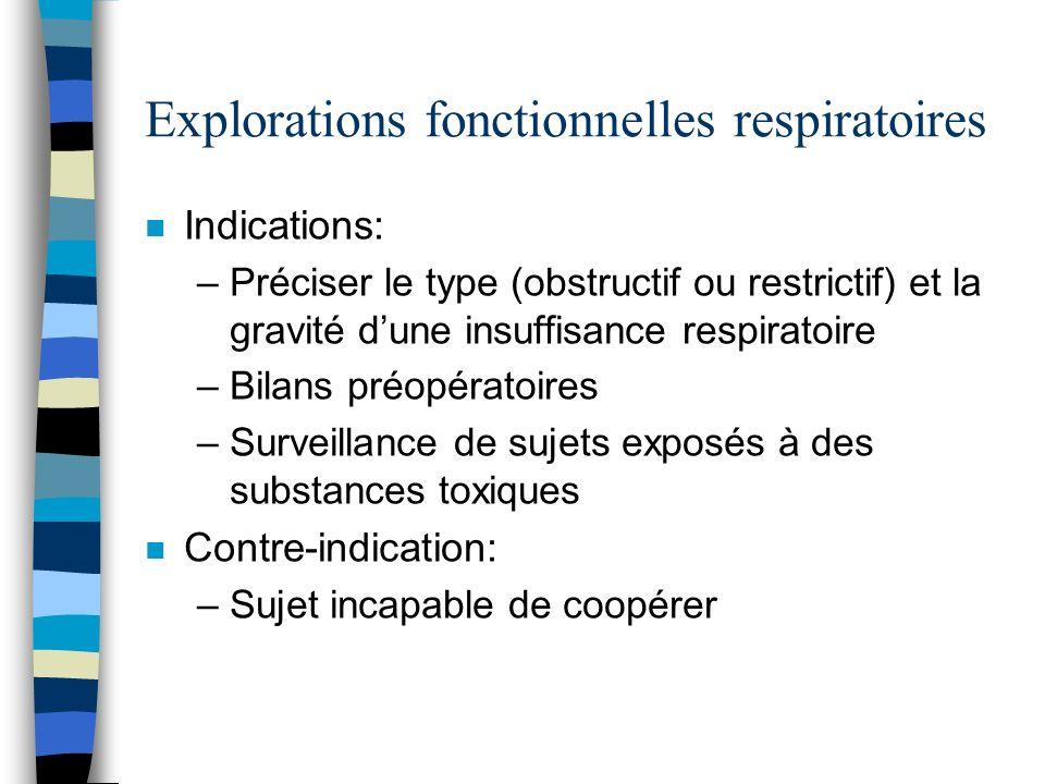 Explorations fonctionnelles respiratoires n Indications: –Préciser le type (obstructif ou restrictif) et la gravité dune insuffisance respiratoire –Bi