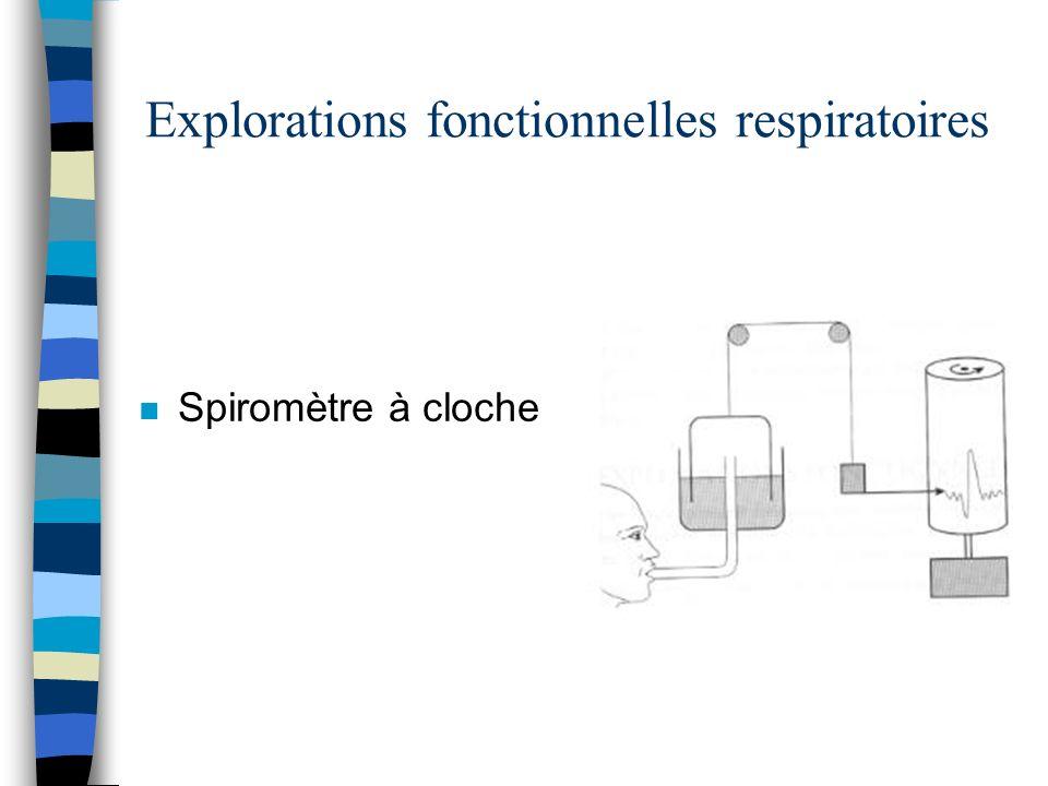 Explorations fonctionnelles respiratoires n Spiromètre à cloche