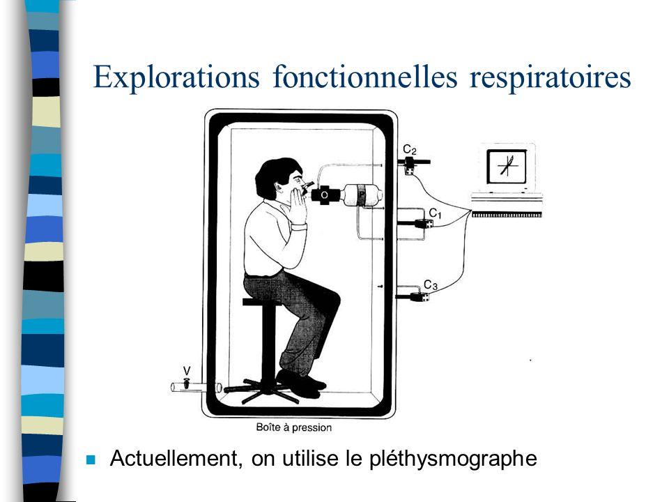 Explorations fonctionnelles respiratoires n Actuellement, on utilise le pléthysmographe