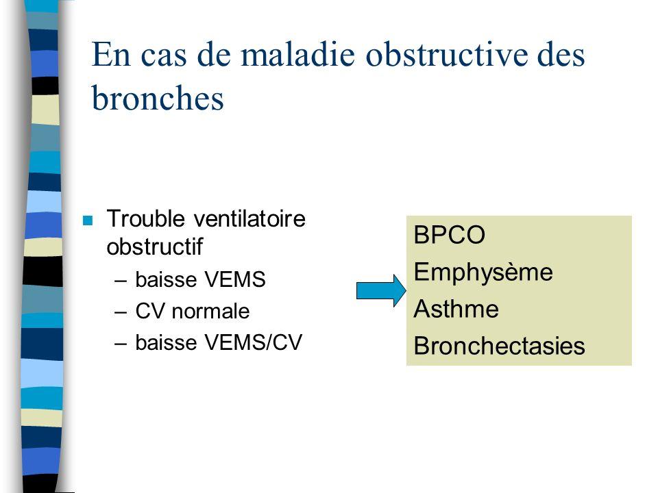 En cas de maladie obstructive des bronches n Trouble ventilatoire obstructif –baisse VEMS –CV normale –baisse VEMS/CV BPCO Emphysème Asthme Bronchecta