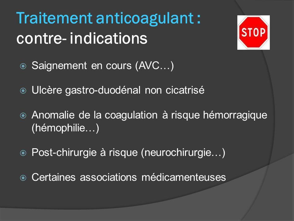 Traitement anticoagulant : contre- indications Saignement en cours (AVC…) Ulcère gastro-duodénal non cicatrisé Anomalie de la coagulation à risque hémorragique (hémophilie…) Post-chirurgie à risque (neurochirurgie…) Certaines associations médicamenteuses
