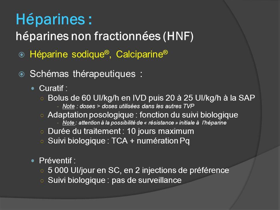 Héparines : héparines non fractionnées (HNF) Héparine sodique ®, Calciparine ® Schémas thérapeutiques : Curatif : Bolus de 60 UI/kg/h en IVD puis 20 à 25 UI/kg/h à la SAP -Note : doses > doses utilisées dans les autres TVP Adaptation posologique : fonction du suivi biologique -Note : attention à la possibilité de « résistance » initiale à lhéparine Durée du traitement : 10 jours maximum Suivi biologique : TCA + numération Pq Préventif : 5 000 UI/jour en SC, en 2 injections de préférence Suivi biologique : pas de surveillance