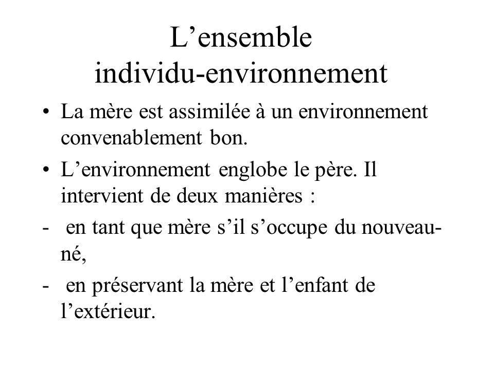 Lensemble individu-environnement La mère est assimilée à un environnement convenablement bon.