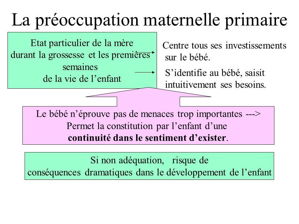 La préoccupation maternelle primaire Etat particulier de la mère durant la grossesse et les premières semaines de la vie de lenfant Centre tous ses investissements sur le bébé.