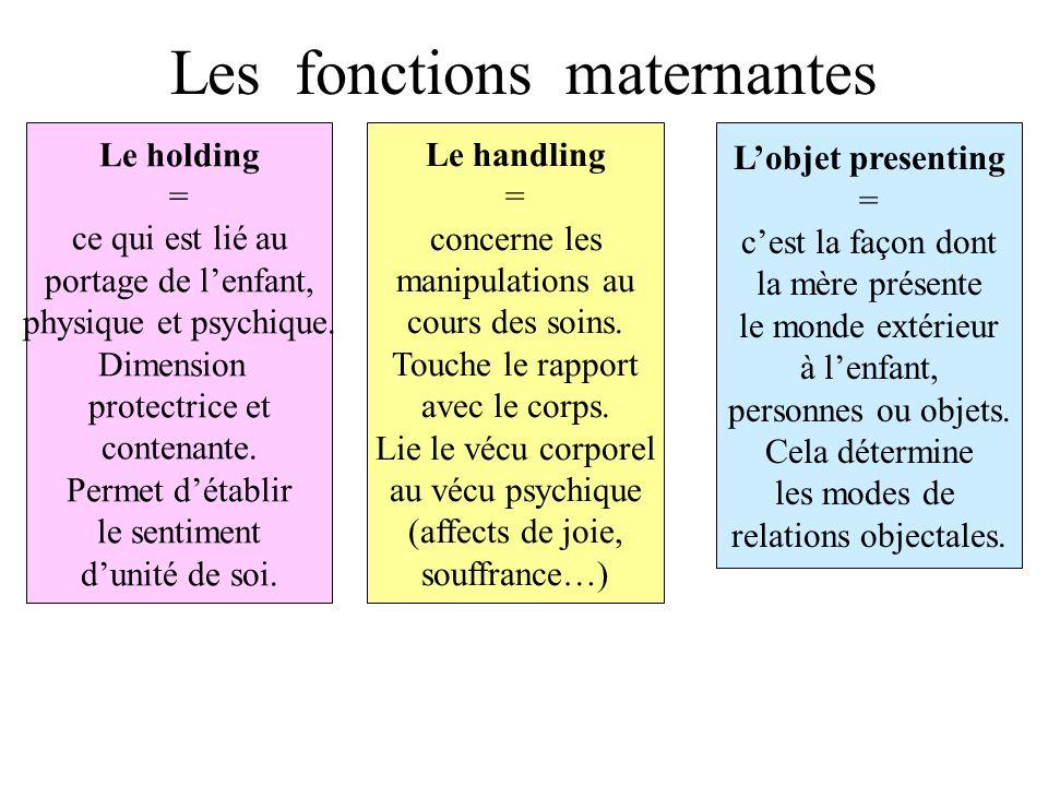 Les fonctions maternantes Le holding = ce qui est lié au portage de lenfant, physique et psychique.