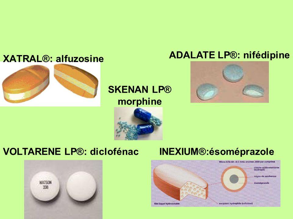 XATRAL®: alfuzosine VOLTARENE LP®: diclofénacINEXIUM®:ésoméprazole ADALATE LP®: nifédipine SKENAN LP® morphine