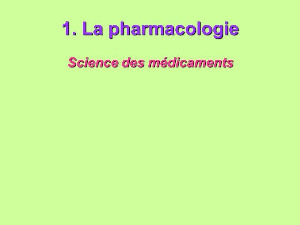 1. La pharmacologie Science des médicaments