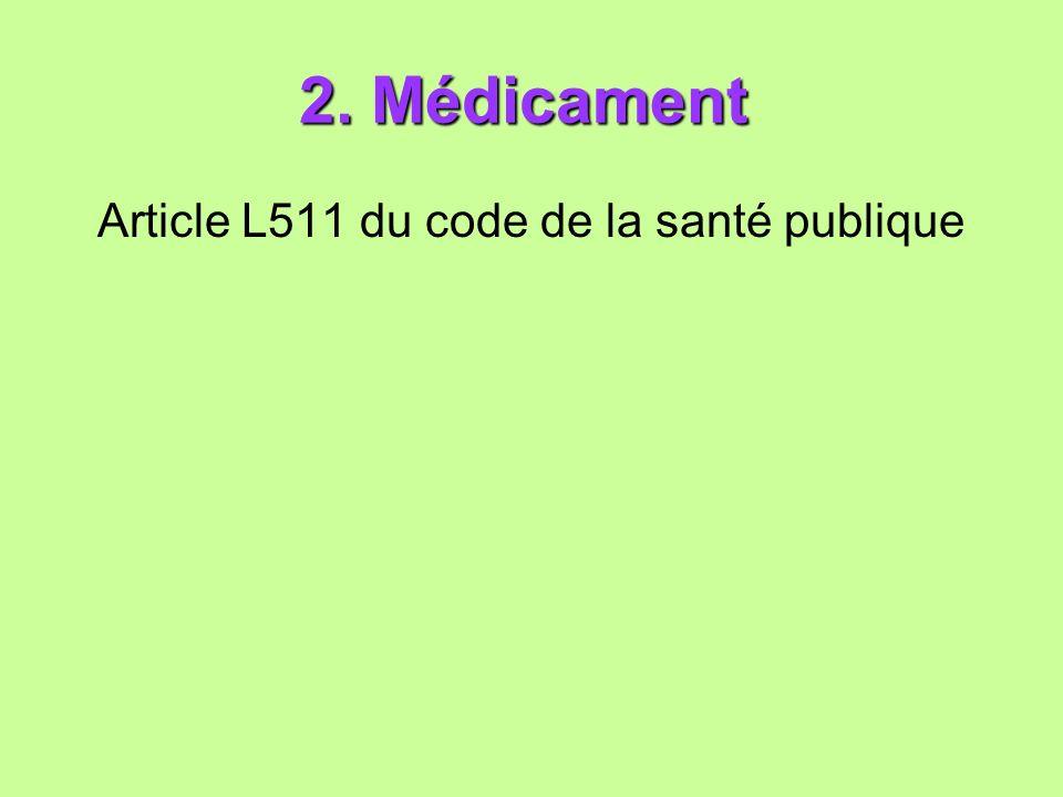 2. Médicament 2. Médicament Article L511 du code de la santé publique