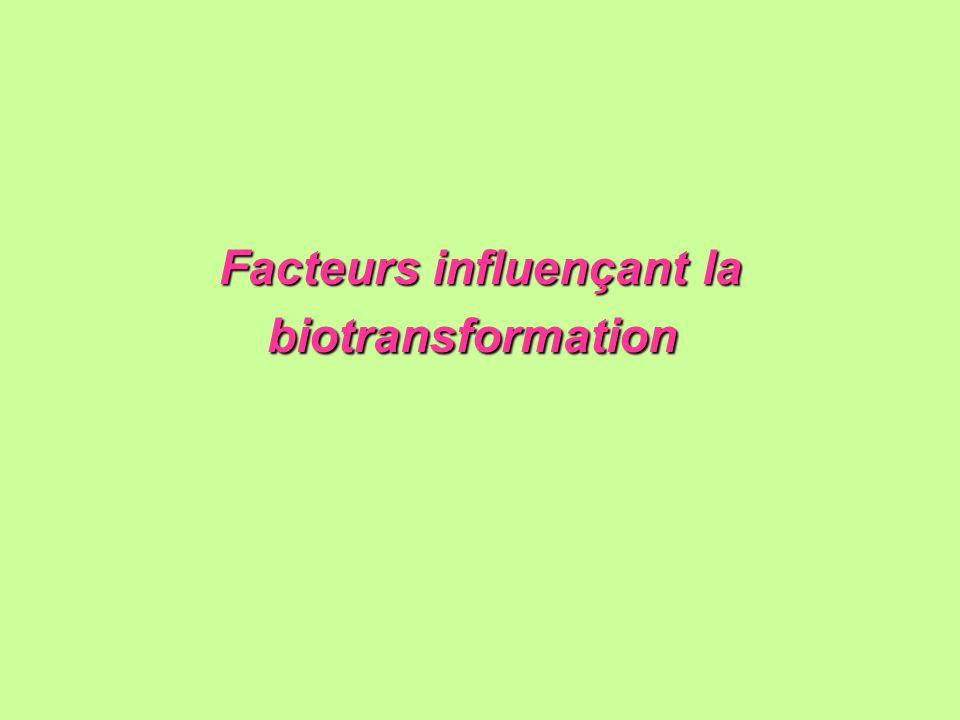 Facteurs influençant la biotransformation Facteurs influençant la biotransformation