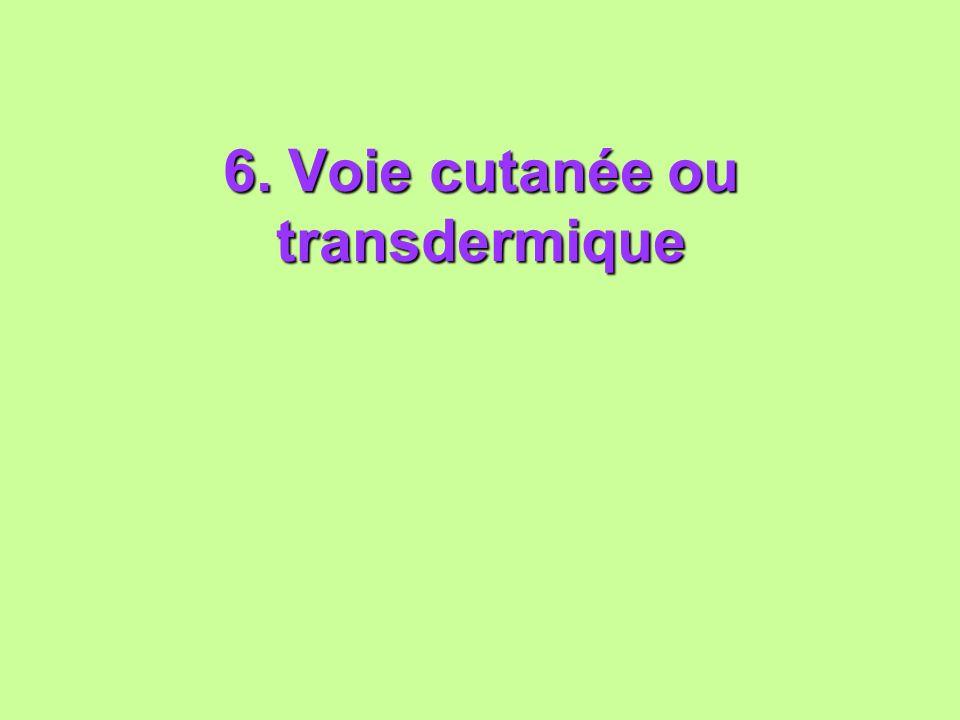 6. Voie cutanée ou transdermique