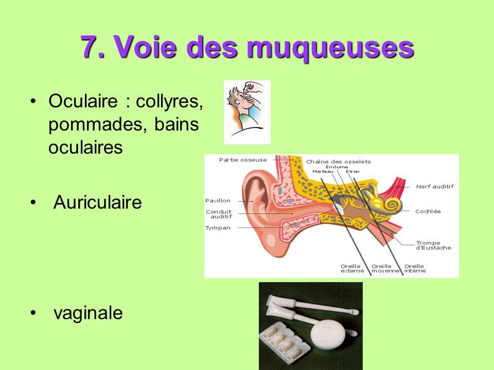 7. Voie des muqueuses Oculaire : collyres, pommades, bains oculaires Auriculaire vaginale