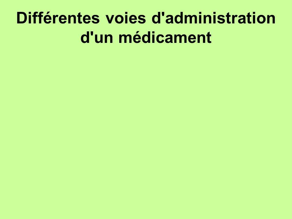 Différentes voies d'administration d'un médicament