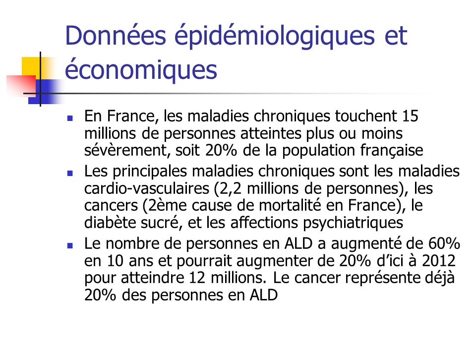 Données épidémiologiques et économiques En France, les maladies chroniques touchent 15 millions de personnes atteintes plus ou moins sévèrement, soit