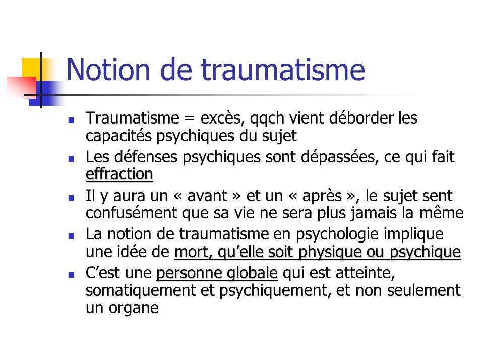 Notion de traumatisme Traumatisme = excès, qqch vient déborder les capacités psychiques du sujet effraction Les défenses psychiques sont dépassées, ce