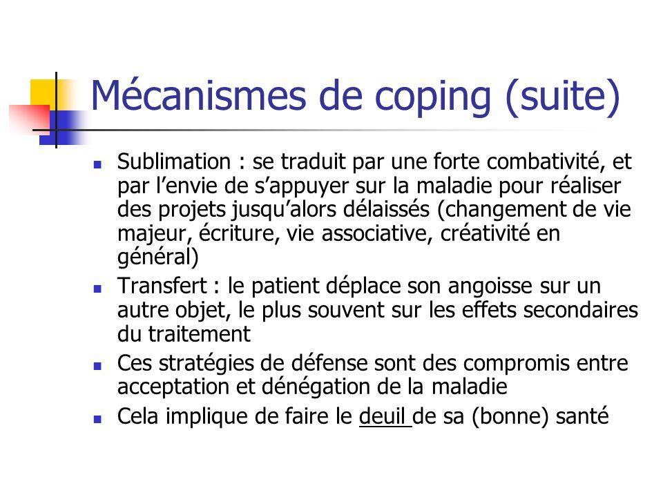 Mécanismes de coping (suite) Sublimation : se traduit par une forte combativité, et par lenvie de sappuyer sur la maladie pour réaliser des projets ju