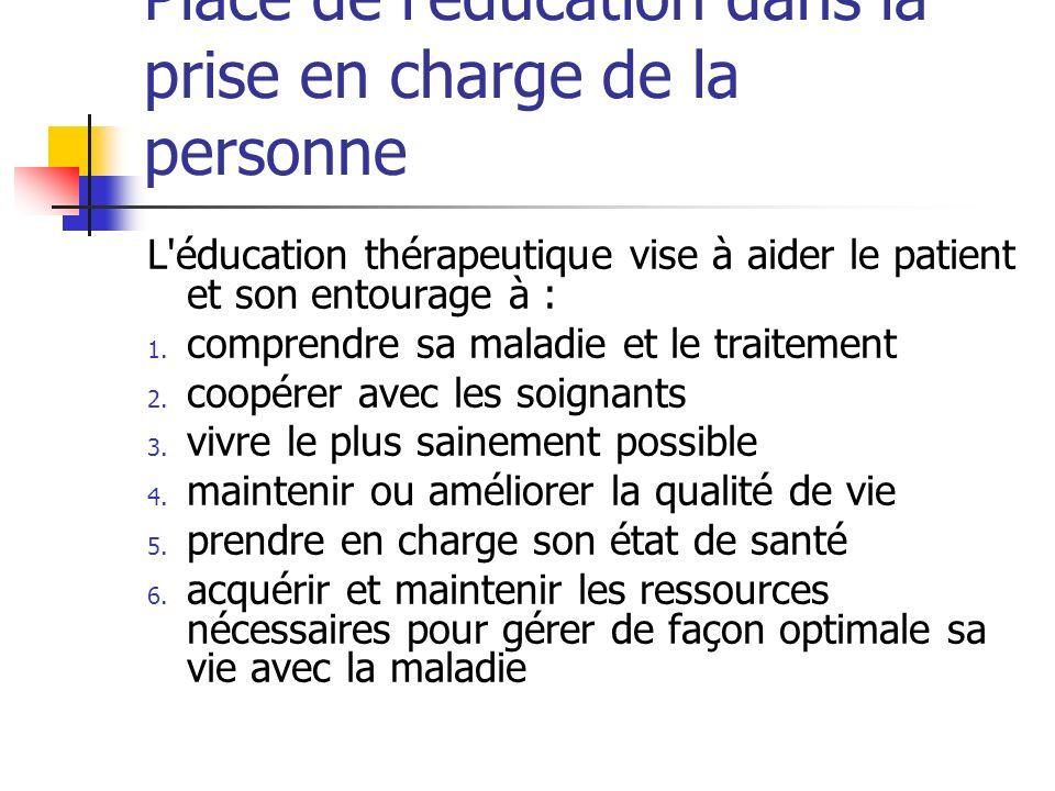 Place de léducation dans la prise en charge de la personne L'éducation thérapeutique vise à aider le patient et son entourage à : 1. comprendre sa mal