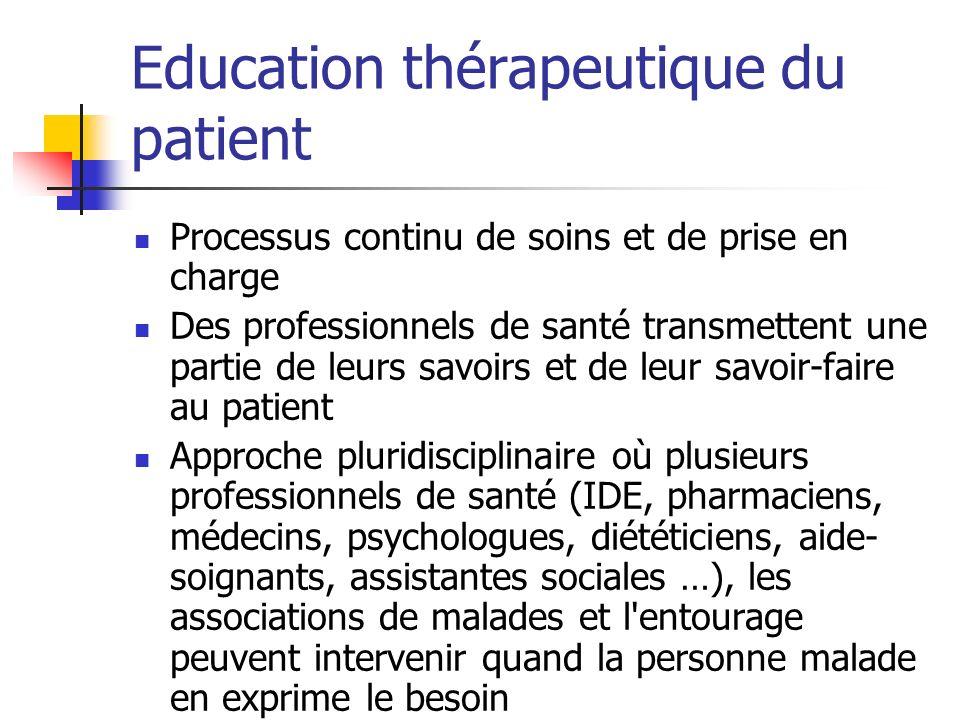 Education thérapeutique du patient Processus continu de soins et de prise en charge Des professionnels de santé transmettent une partie de leurs savoi