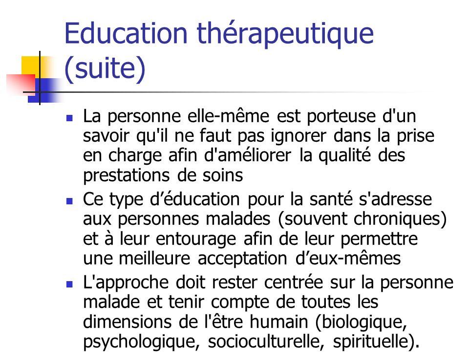 Education thérapeutique (suite) La personne elle-même est porteuse d'un savoir qu'il ne faut pas ignorer dans la prise en charge afin d'améliorer la q