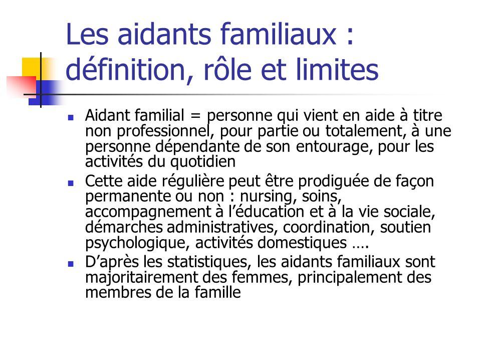 Les aidants familiaux : définition, rôle et limites Aidant familial = personne qui vient en aide à titre non professionnel, pour partie ou totalement,
