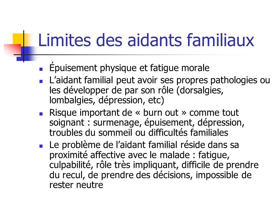 Limites des aidants familiaux Épuisement physique et fatigue morale Laidant familial peut avoir ses propres pathologies ou les développer de par son r