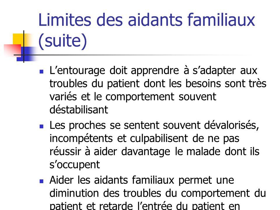 Limites des aidants familiaux (suite) Lentourage doit apprendre à sadapter aux troubles du patient dont les besoins sont très variés et le comportemen
