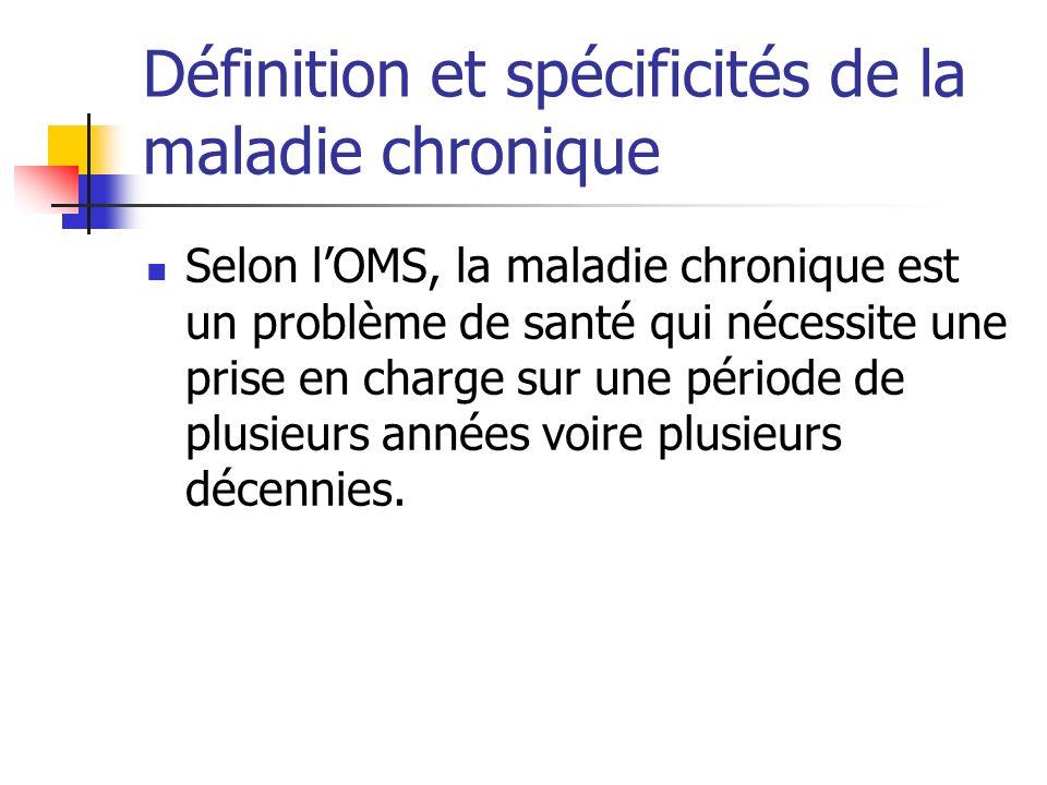 Définition et spécificités de la maladie chronique Selon lOMS, la maladie chronique est un problème de santé qui nécessite une prise en charge sur une