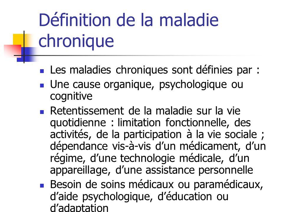 Définition de la maladie chronique Les maladies chroniques sont définies par : Une cause organique, psychologique ou cognitive Retentissement de la ma