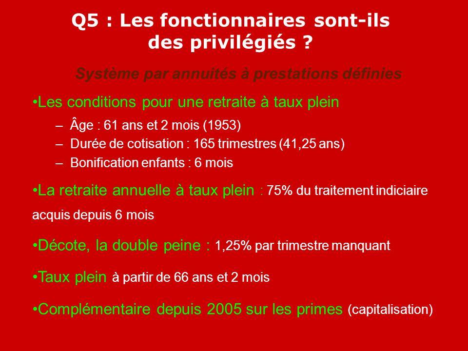 Q5 : Les fonctionnaires sont-ils des privilégiés .