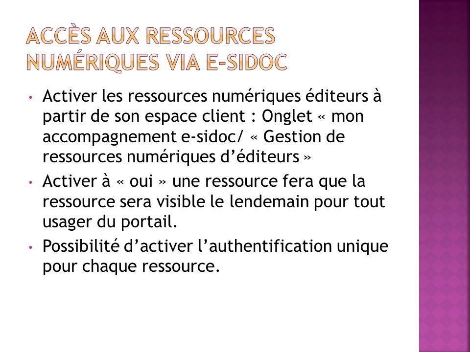 Activer les ressources numériques éditeurs à partir de son espace client : Onglet « mon accompagnement e-sidoc/ « Gestion de ressources numériques déd