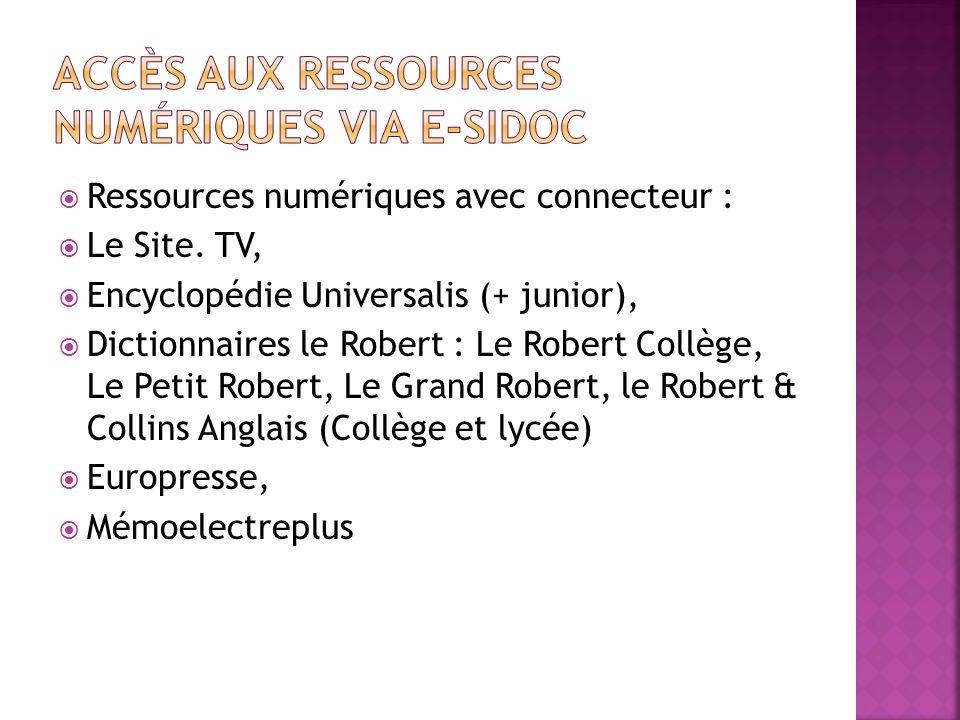 Ressources numériques avec connecteur : Le Site. TV, Encyclopédie Universalis (+ junior), Dictionnaires le Robert : Le Robert Collège, Le Petit Robert