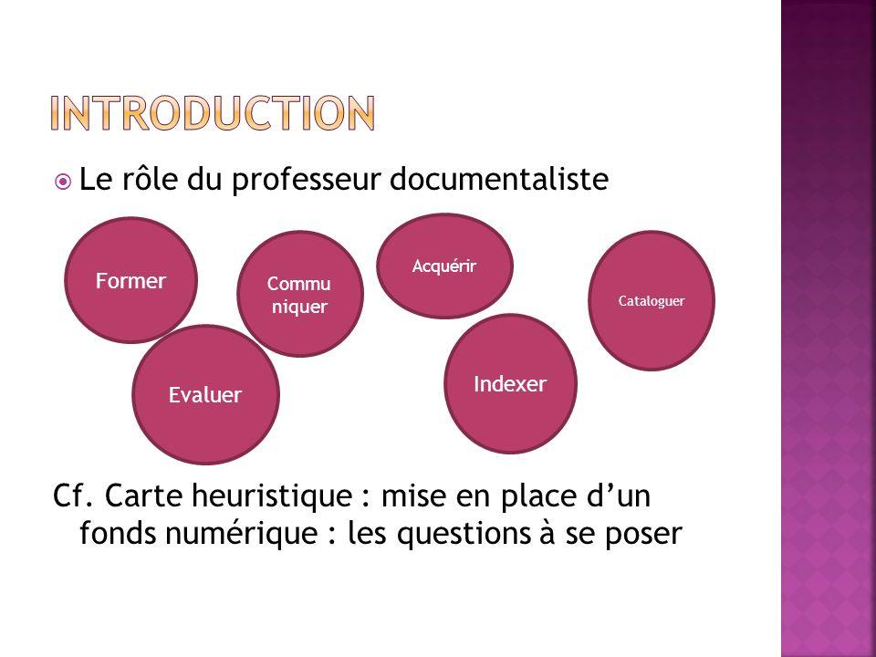 Le rôle du professeur documentaliste Cf. Carte heuristique : mise en place dun fonds numérique : les questions à se poser Acquérir Cataloguer Indexer