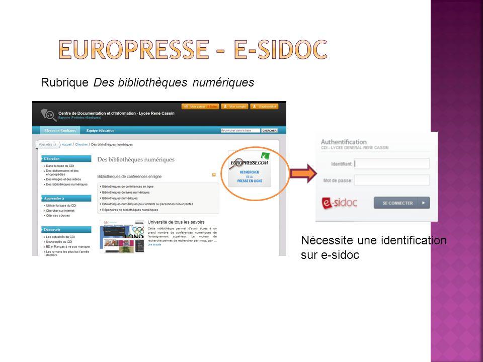 Rubrique Des bibliothèques numériques Nécessite une identification sur e-sidoc