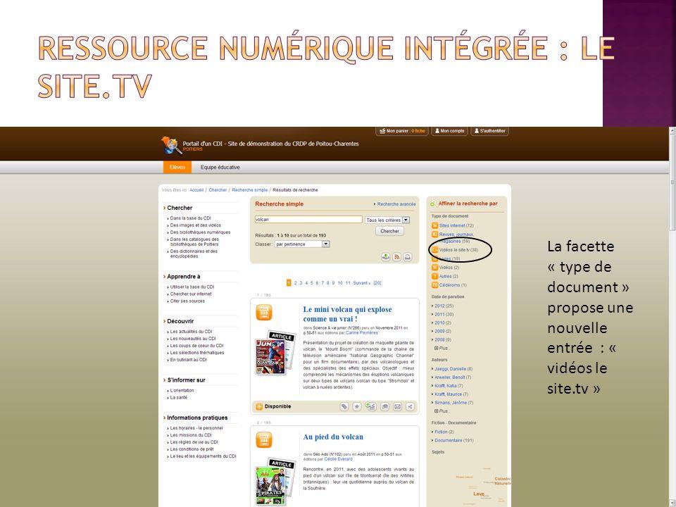 La facette « type de document » propose une nouvelle entrée : « vidéos le site.tv »