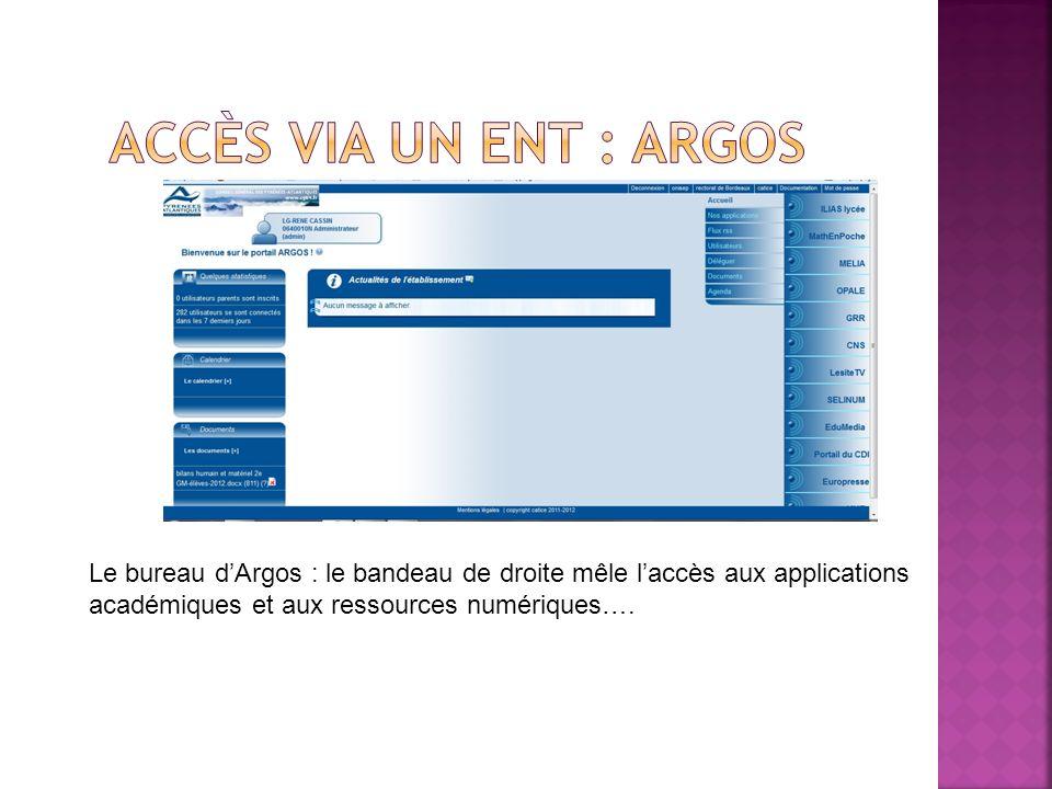 Le bureau dArgos : le bandeau de droite mêle laccès aux applications académiques et aux ressources numériques….